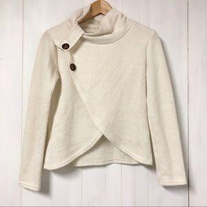 Cream Waffle Knit Crossover Turtleneck Sweater